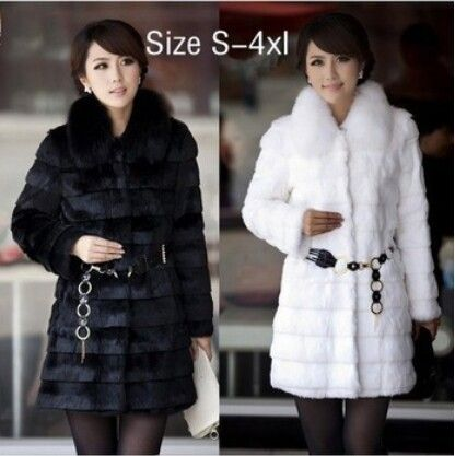 2015 Winter Women's Fashion Rabbit Fur Coat with Fox Fur Collar Outwear Lady Garment Plus Size S-4XL