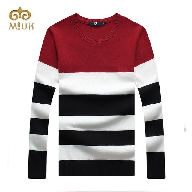 2016 Full Sleeve Striped O-neck Casual Plus Size Warm Wool Pullover Sweater Chompas Para Hombre