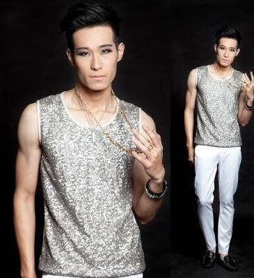 Singer stage Silver sequins men's vest men pullover 2019 brand roupas masculinas sexy tank 1 camisetas regatas masculinas 2XL