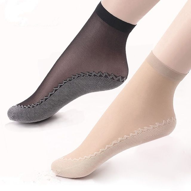 5Pair Women Socks Female Socks Summer Style Skin Color/Black Sock Thin Transparent Socks Elastic Short Wear-Resistant Bottom