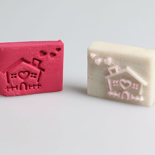 Handmade resin soap stamp custom DIY new resin Soap printed pattern cartoon house soap chapter  Stamp