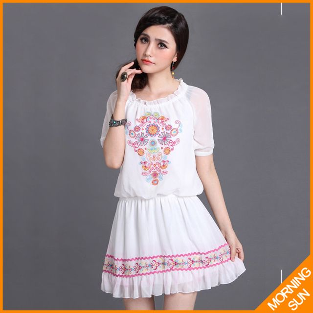 2017 forever new fashion women spring national wind bohemia brand flower print mini cute chiffon white summer ladies dress #0211