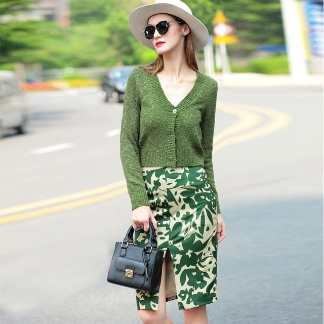 2015 Spring Winter Women Knitted Set Suit Sexy V-neck Sweater+Straight Skirt Army Green Slim 2 Piece Set