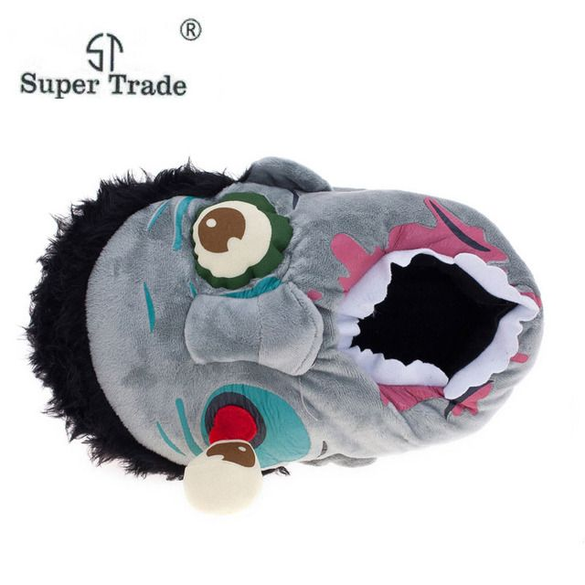 Free Shipping 1Pair Plush Zombie Slippers / Ravenous Zombie Warm Slippers Funny  Home Shoes  Cartoon Slippers