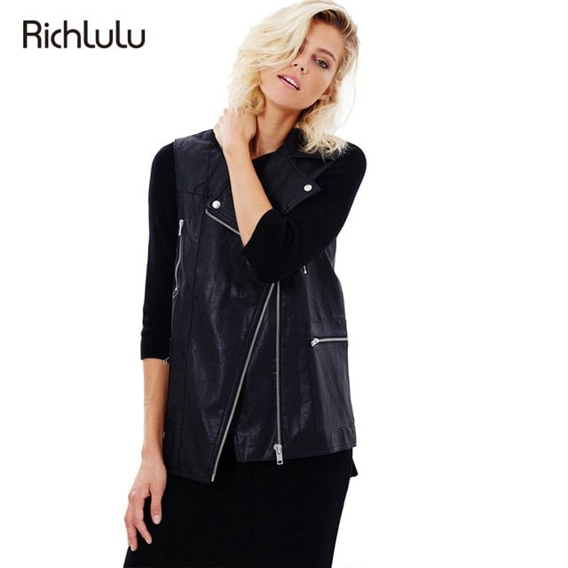 RichLuLu Black Punk Style Slim Biker Jacket Women Sleeveless Turn Down Collar PU Jacket Coat Chaquetas De Cuero Mujer Jacket