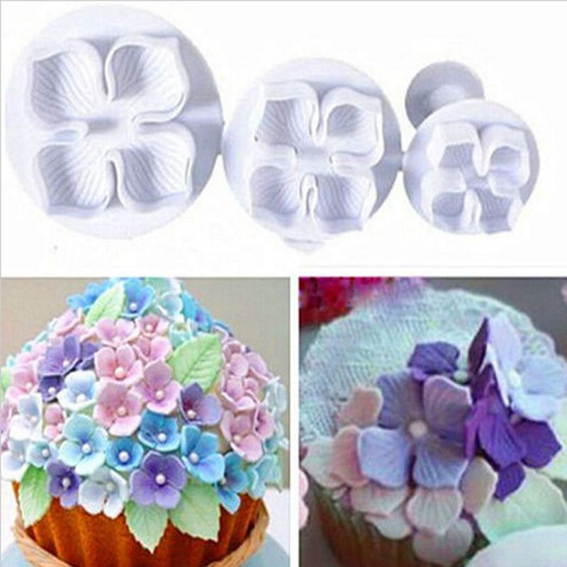 LINSBAYWU 3Pcs/Set Silicone Hydrangea Fondant Cake Decorating SugarCraft Plunger Cutter Flower Blossom Mold Home