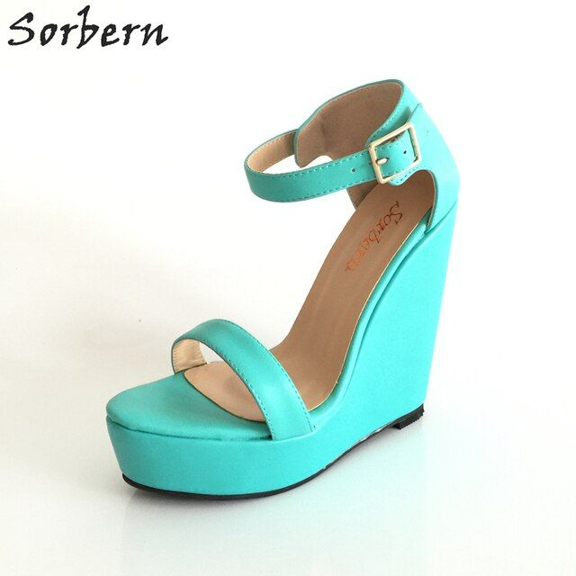 Sorbern Handamde Green Women Sandal Wedges Cut-outs Open Shoes With Platform Ladies Causal Shoes Summer Style Sandals EU34-46