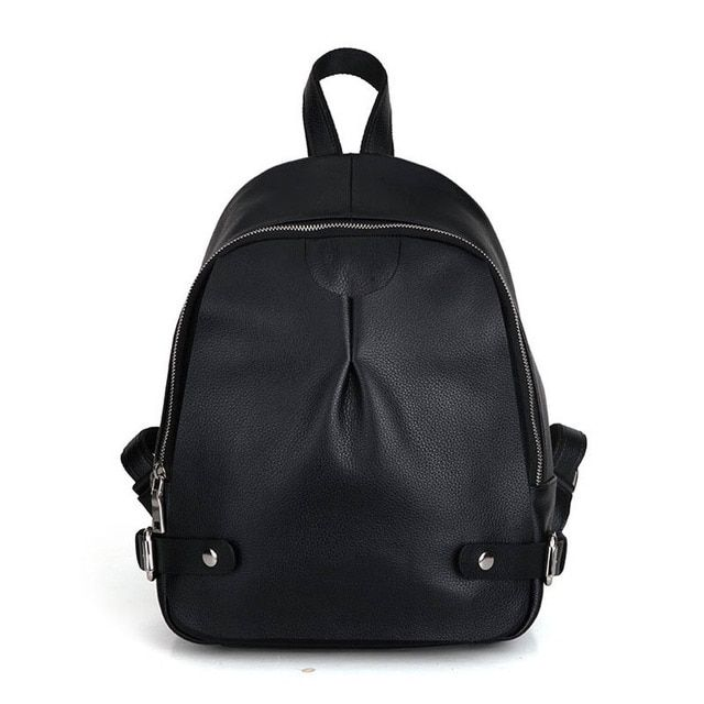 Top Layer Cowhide Simple Fashion Backpack For Women High-volume Korean Style Designer Real Leather Lady Black Zipper Daypack
