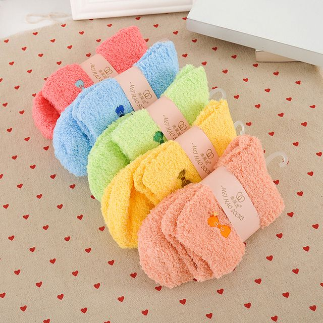 Fashion Autumn Winter Women Solid Color Coral Villus Towel Socks Thickening Keep Warm Sleep Floor Bow-Knot Sock Free Shipping