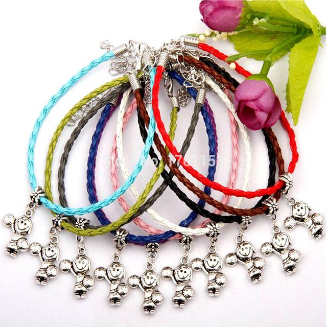 Hot 20pcs/Lot Antique Silver Cheerleading Girl Charm Pendant 20+5CM Multicolor Leather Rope Bracelet High Quality Jewelry E251