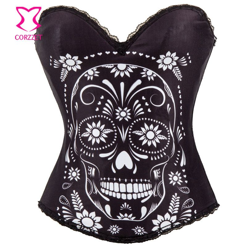 Black Cotton Floral And Skull Print Espartilhos E Corpetes Sexy Burlesque Costume Corset Overbust Bustier Women Corsetto Gotico
