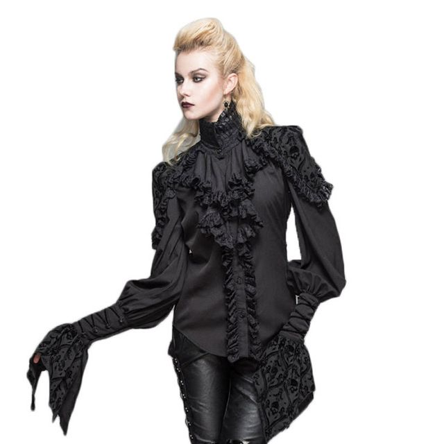 Steam Punk Gothic Stand Collar Flower Side Top Woman Blouses 2017 Spring Long Sleeve Women's Shirts Cheap China Clothes