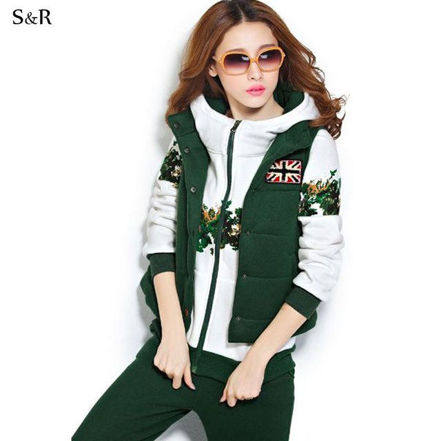 Winter TrackSuit  Floral Print  Hoodies Pants Vest Set Wear 3 piece Clothing sets Women Tracksuit Set Plus Velvet Thick Warm