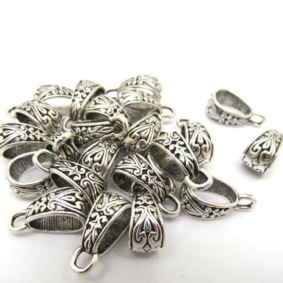 Best Quality 30 Pcs Silver Tone Bail Beads Fit Charm Bracelet Findings Jewelry Making 15x9mm(W01856 X 1)