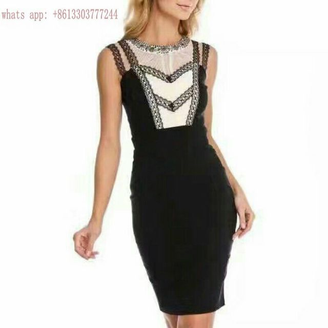 Elegant women summer dress vetsidos 2017 luxcury brand clothing black BODYCON bandage dress HL lace cocktail gown party dresses