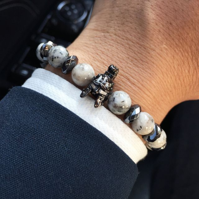 Mcllroy Charm Bracelet men Natural Stone Beads Bracelet Knight Helmet Spartan Gladiator Skull Bracelets Men jewelry Viking gift