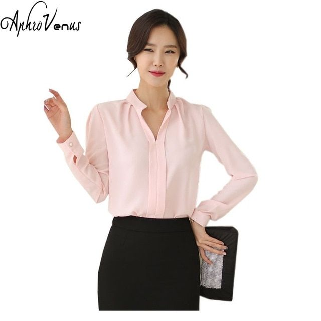 2016 Spring Women Chiffon Shirt Blouse Ladies White Pink Elegant Sexy V-neck Long Sleeve Shirts Female Office Shirt Plus Size