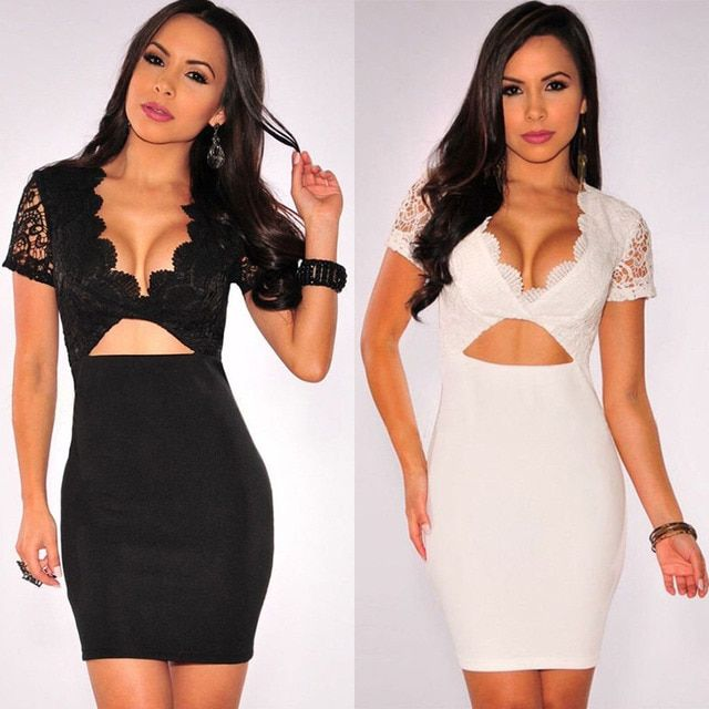 YHX 2016 New Sexy Women V Neck Short Sleeve Party Cocktail Club Mini Bodycon Lace Dress