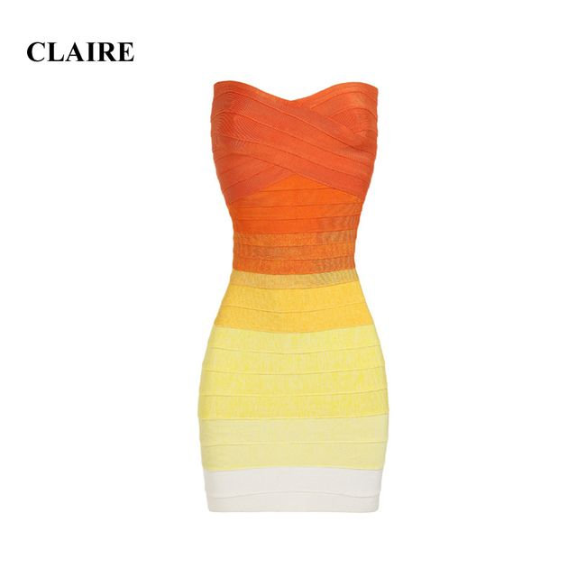 Claire 2016 Summer Orange Gradient Strapless Off Shoulder Sexy Club Factory HL Bandage Dress CD277