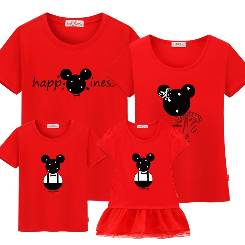 Mother Son outfits Family Matching Clothes outfits Mother Daughter Dresses Cotton sister Family clothes 2019 new Mickey T-shirts