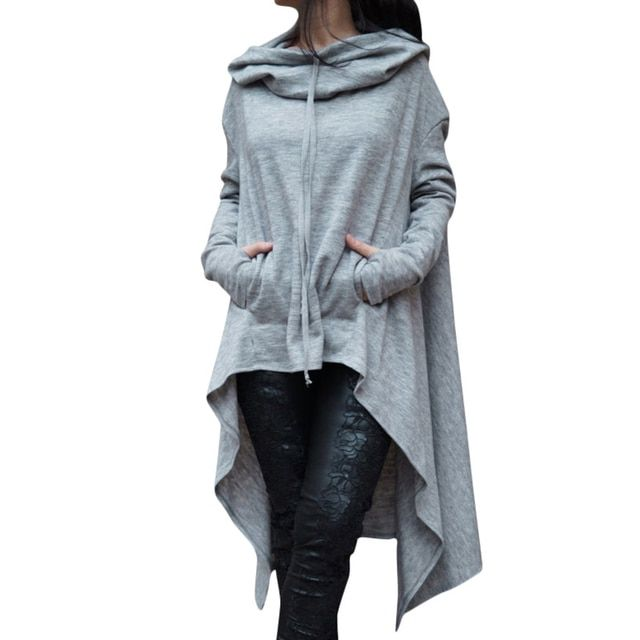 S-XXXXL Black clothes 2017 Women Pockets Winter Spring Hoodies Scarf Collar Long Sleeve Fashion Casual Style Autumn Sweatshirts