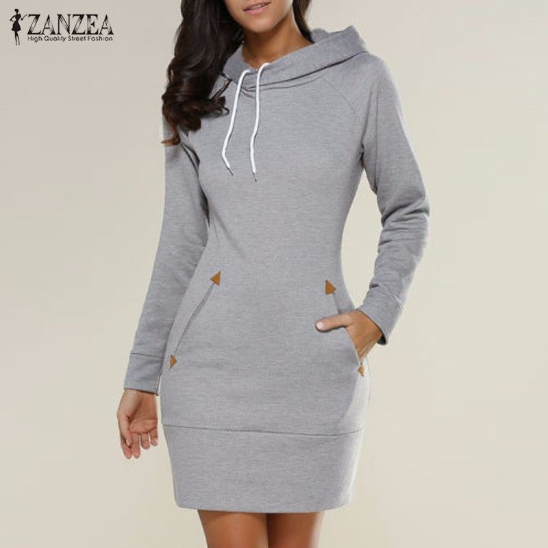 Vestidos 2019 Spring ZANZEA Women Oversized Casual Straight Solid Dress Ladies Long Sleeve Hooded Pockets Mini Dresses Plus Size