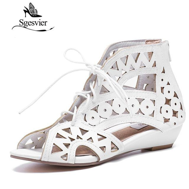 SGESVIER Big Size 31-43 Fashion Cutouts Lace Up Women Sandals Open Toe Low Wedges Bohemian Summer Shoes Beach Shoes Women AA516