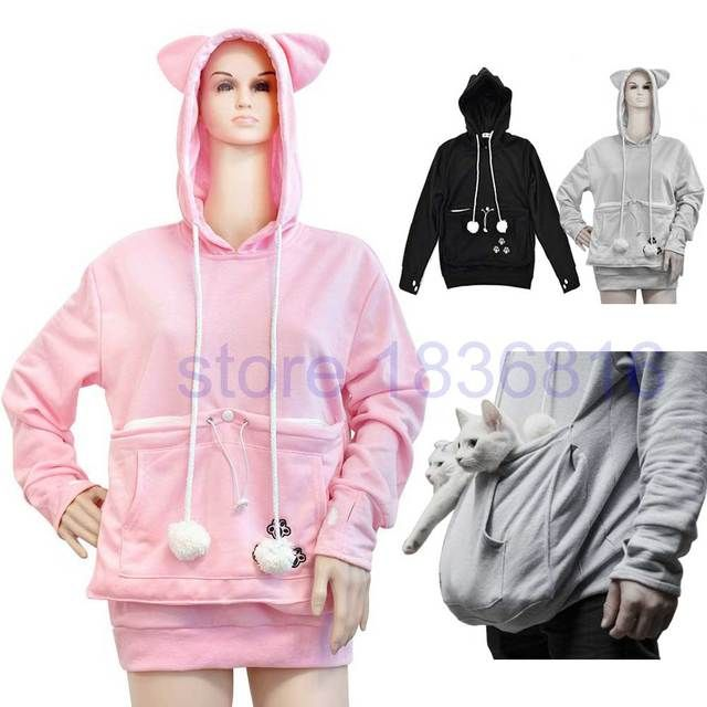 Japanese Cat Sweatshirt Mewgaroo Nyangaroo Women Hoodie Sweatshirt Women Kangaroo Cat Ear Pet Pouch Pocket Gray Pink Pullovers