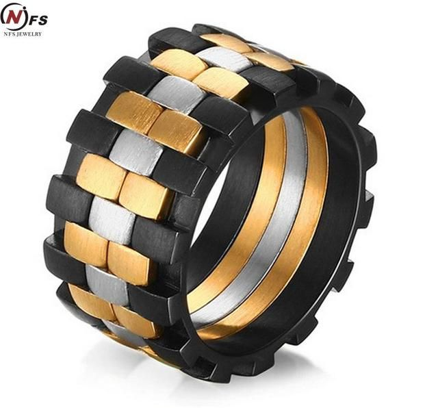 Unique Design Men Ring Moveable Gear 316L Stainless Steel Charming Ring for Men Wholesale Double Rows Folding Anel Ring