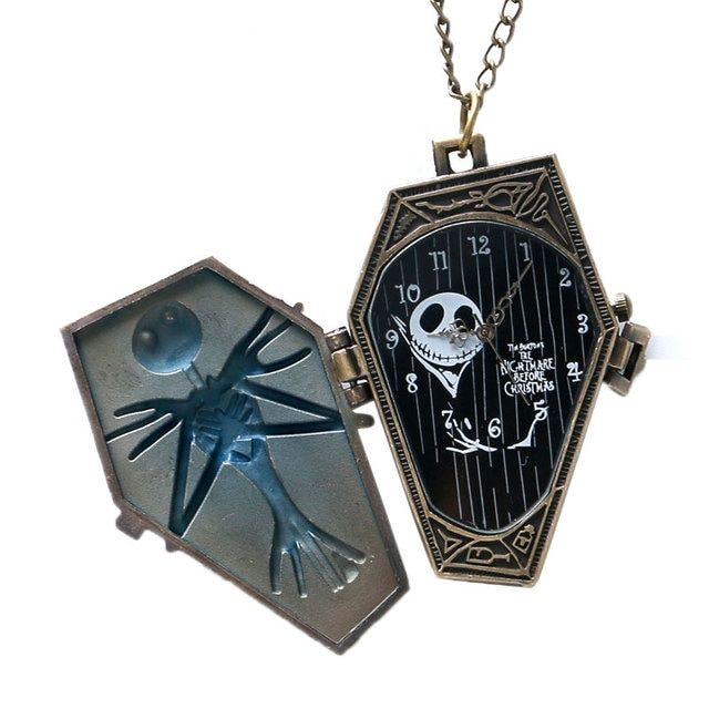 Jack Skellington The Burton Nightmare Before Christmas Necklace Pocket Watch Retro Steampunk Women Mens Present + Gift Bag