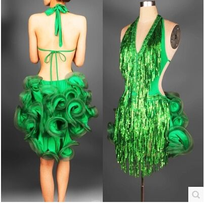 latin dance dress green professional costume for women fringe samba costume colorful womens ballroom competition dresses tassels