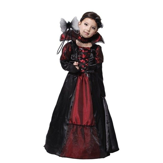 Children Girls Princess Vampire Cosplay Costumes for Kids Halloween Costume Long Dress Carnival Party