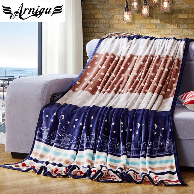 ARNIGU Striped and Stars printed soft Fleece blanket winter bedding/sofa Throws warm bed sheet twin full queen size plaids
