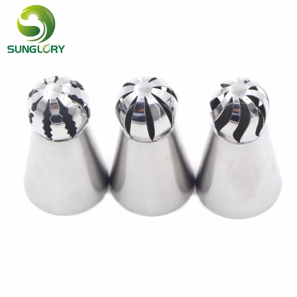 3pcs Fondant Icing Piping Nozzles Stainless Steel Russian Tulip Nozzles Cake Cupcake Piping Tips Set Pastry Cream Tubes