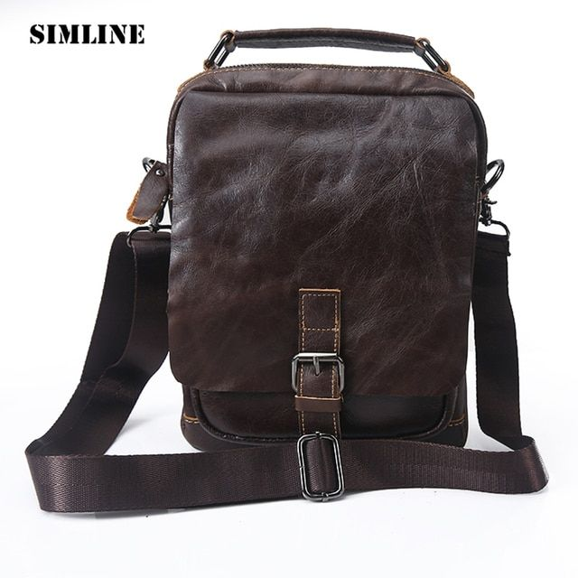 New High Quality Vintage Casual 100% Genuine Leather Cowhide Men Small Handbag Handbags Shoulder Bag Messenger Bag Bags For Man
