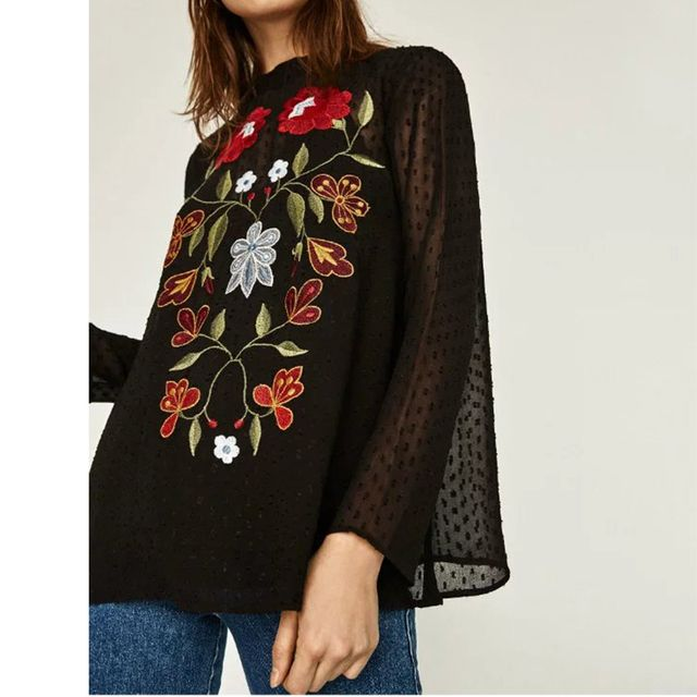 2017 Women Floral Embroidery Blouses  Perspective  Female Long Sleeve Stand Collar 2pcs Black Shirts Brand Tops BBWM16182