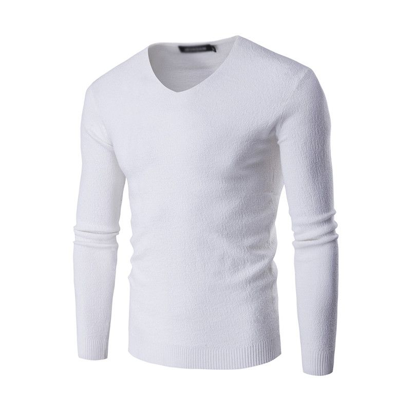 Men Long Sleeve Solid Sweater Casual Sweater Knitted Winter Warm Pullovers V-neck Male Slim Jumper Sweaters 025