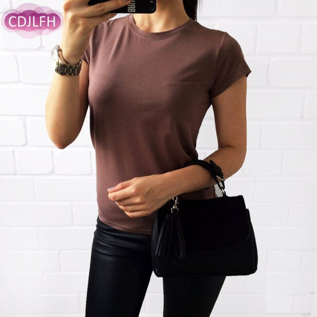 CDJLFH Brand 2017 Summer New Women Fashion Blouse Round Neck Short Sleeve Tops Blouses 5 Colors S M L XL XXL Size