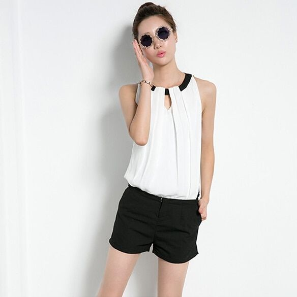 2016 Hot sale camisas blusas ladies white chiffon blouse shirt women Sleeveless plus size XXXL