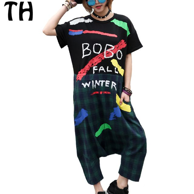2016 Plus Size Graffiti Plaid Jumpsuits For Women Loose Hip Hop Harem Overalls Bodysuit Macacao Feminino Longo #161313