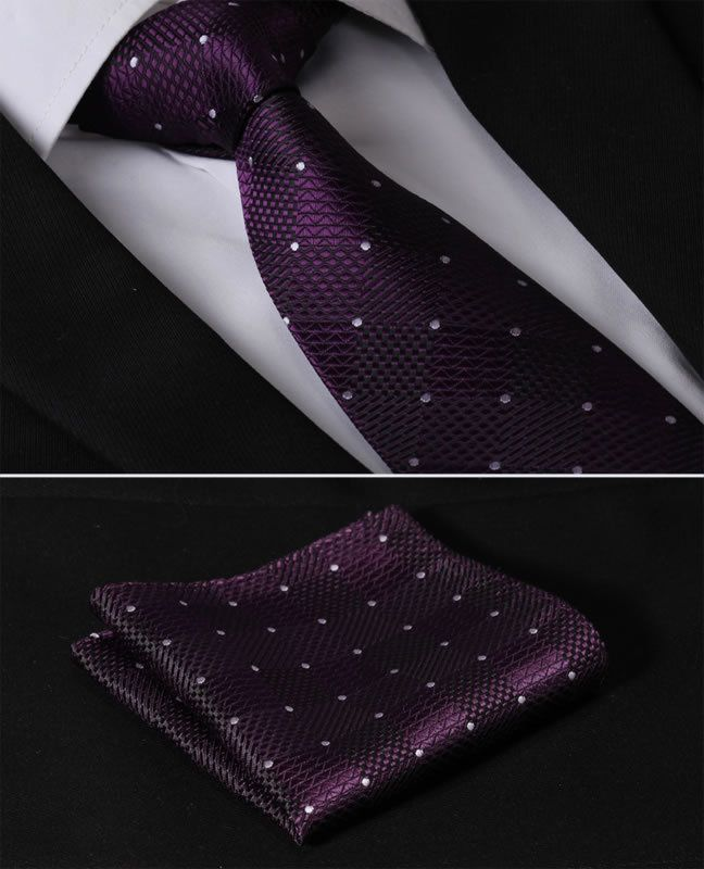 "TC1015P8 Purple Check 3.4"" 100%Silk Wedding Jacquard Woven Men Tie Necktie Pocket Square Handkerchief Set Suit"