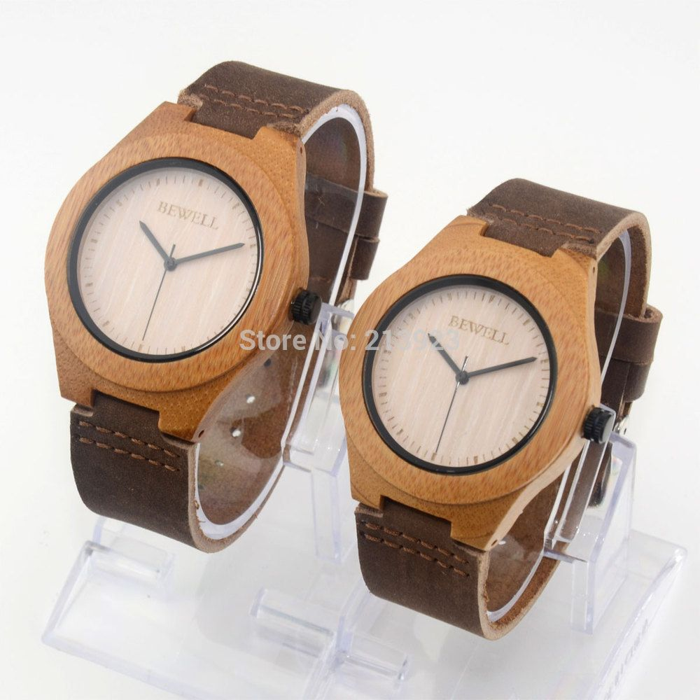 New Couple Watches Carbonized Bamboo BEWELL Wooden Men Women Genuine Leather Lovers Watches