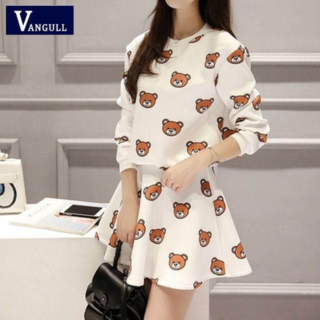 Women Cartoon Bear Print Crop Top and Mini Skirt Two Pieces Clothing Set 2016 Spring Autumn New European Style Fashion 2 Pcs