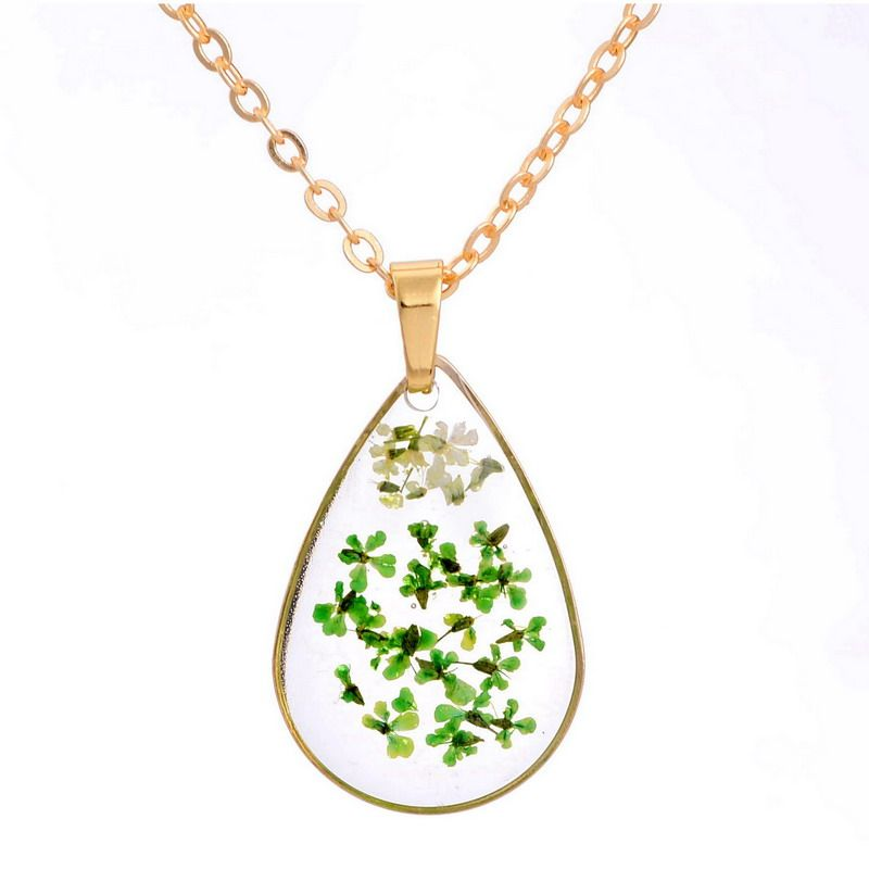 Trendy Handmade Real Dried Flower Necklace Water Drop Heart Necklaces Gold Color Chain Fashion Jewelry Women