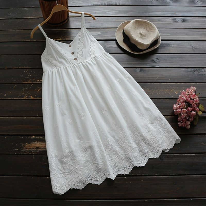 Summer Cute Commute Cotton Lace Sleeveless Dress Women Clothing Lolita Embroidery Spaghetti Strap Sweet Princess Dress U564