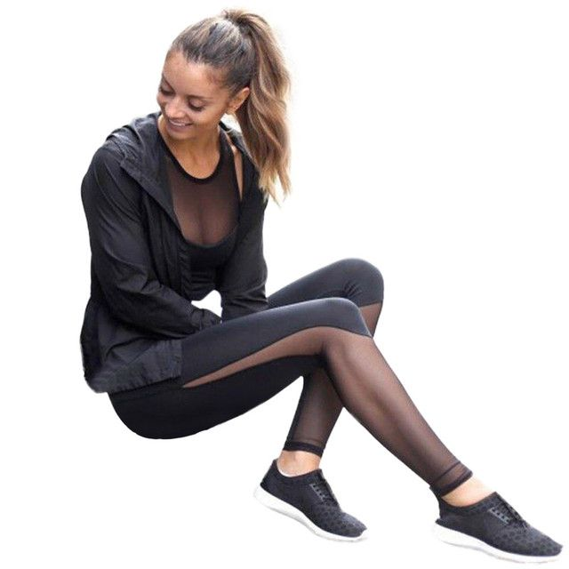 Hip Push up pants Black Soft Women Fitness Leggings Mid Waist Mesh Patchwork Leggings Skinny Push Up Pants leggings 2016