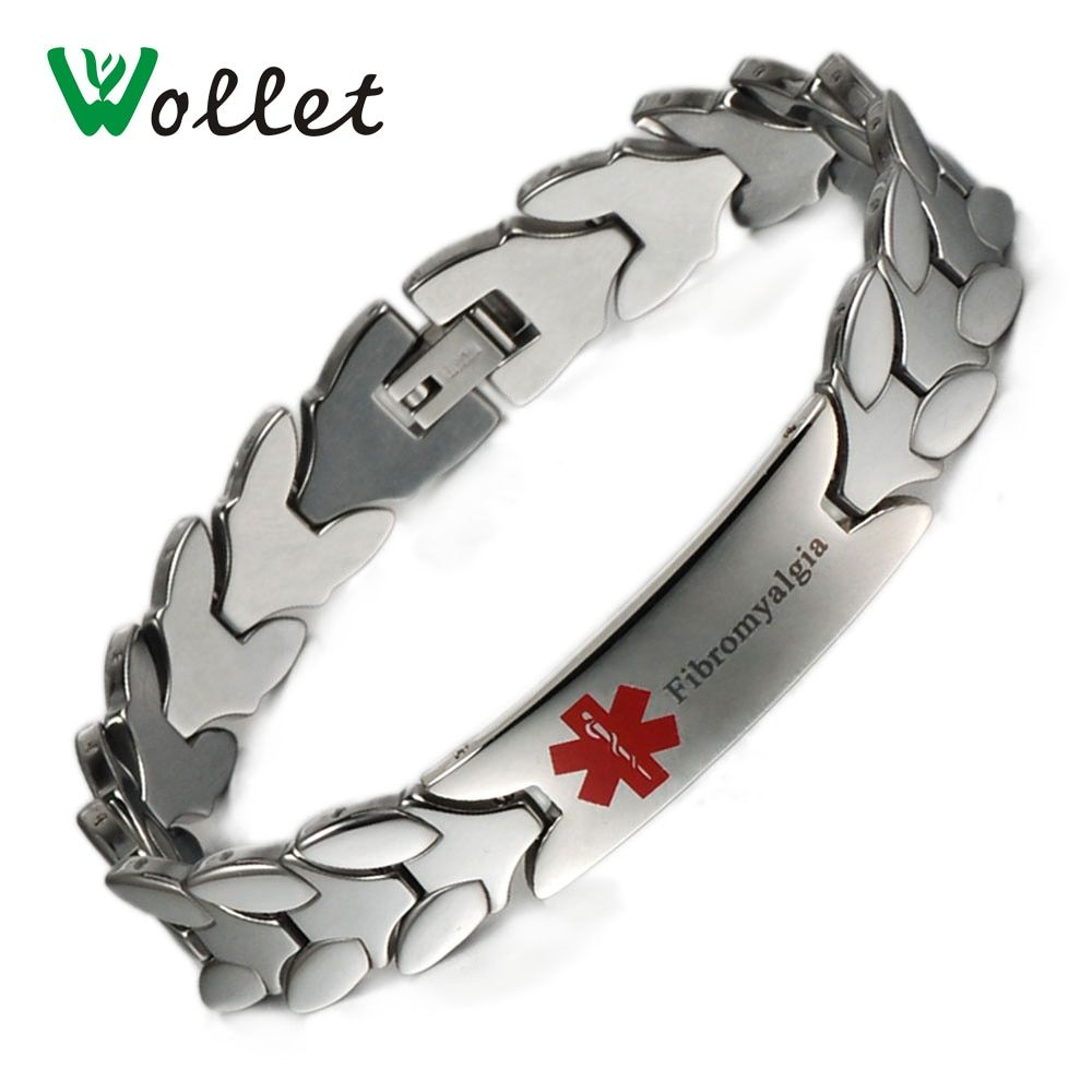Wollet 21cm Healing Energy Tourmaline Germanium Magnetic Carbide Tungsten Bracelet Bangle Medical ID Alert for Fibromyalgia