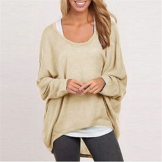 New Arrival Women Autumn Long Sleeve T-shirt Solid Color Female Casual Tee Shirt Tops Woman Round Neck Pullover Sweater TS168