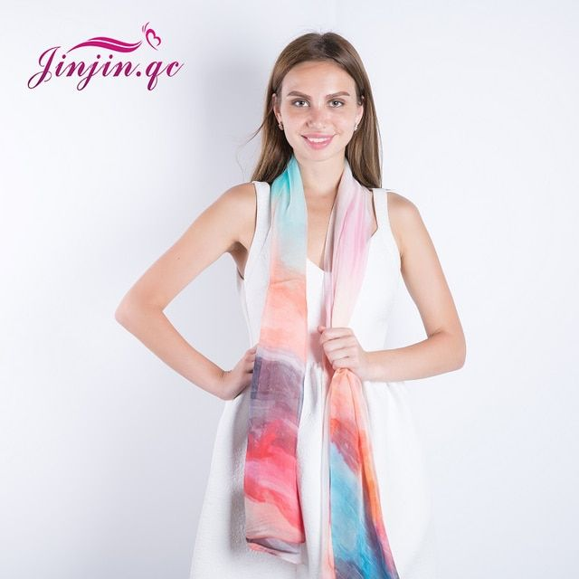 [Jinjin.QC] 2017 Fashion High Quality Colorful Silk Scarf Big Size Chiffon Women Scarves and Shawls Echarpe Foulard Femme JJ021