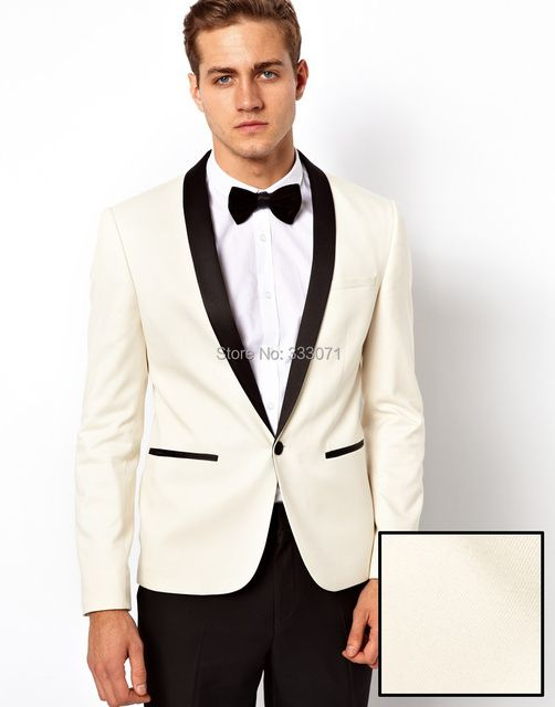 2016 Ivory Jacket With Black Satin Lapel Groom Tuxedos Groomsmen Best Man Suit Mens Wedding Suits Jacket+Pants+Bow Tie